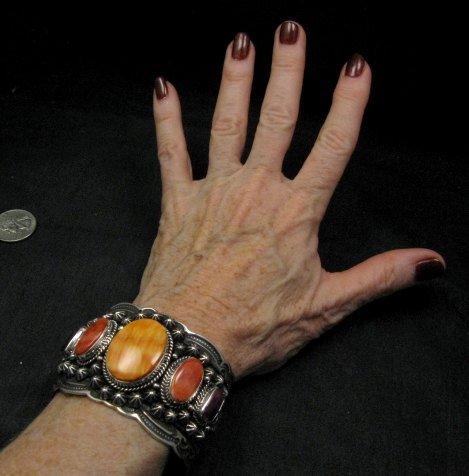 Image 6 of Darryl Becenti Navajo Native American Spiny Oyster Sterling Silver Bracelet