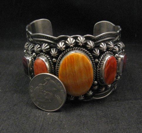 Image 9 of Darryl Becenti Navajo Native American Spiny Oyster Sterling Silver Bracelet