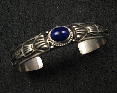 Image 0 of Narrow Navajo Old Pawn Style Lapis Sterling Silver Bracelet, Tsosie White