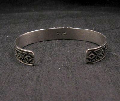 Image 2 of Narrow Navajo Old Pawn Style Lapis Sterling Silver Bracelet, Tsosie White