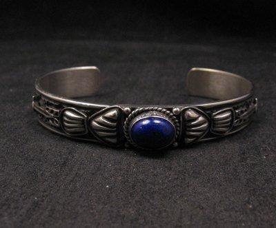 Image 3 of Narrow Navajo Old Pawn Style Lapis Sterling Silver Bracelet, Tsosie White