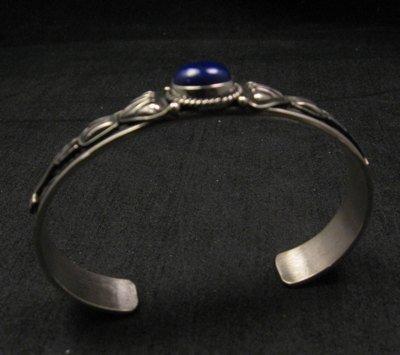 Image 4 of Narrow Navajo Old Pawn Style Lapis Sterling Silver Bracelet, Tsosie White