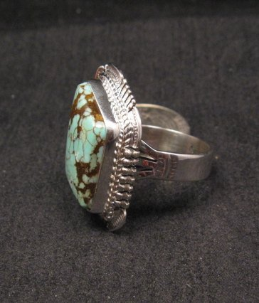 Image 1 of Navajo American Navajo #8 Turquoise Silver Ring by Bennie Ration sz8-3/4