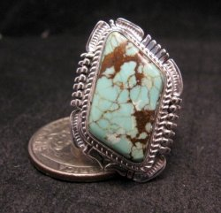 Navajo American Navajo #8 Turquoise Silver Ring by Bennie Ration sz8-3/4