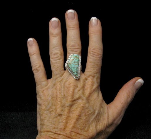 Image 3 of Native American Navajo #8 Turquoise Silver Ring by Lyle Piaso sz8