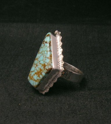 Image 2 of Native American Navajo #8 Turquoise Silver Ring by Lyle Piaso sz8