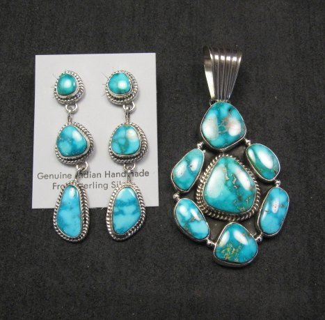 Image 1 of Native American Navajo Turquoise Cluster Pendant & Earrings Set, Geneva Apachito