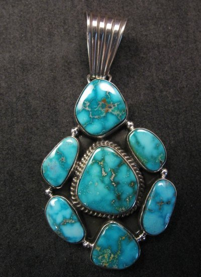 Image 3 of Native American Navajo Turquoise Cluster Pendant & Earrings Set, Geneva Apachito