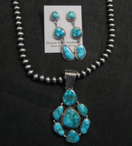 Image 0 of Native American Navajo Turquoise Cluster Pendant & Earrings Set, Geneva Apachito