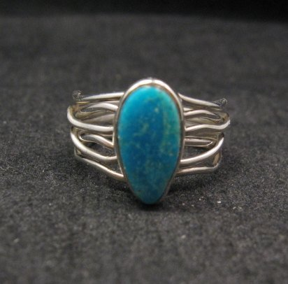 Image 0 of Navajo Native American Turquoise Silver Wire Weave Ring sz6-1/4