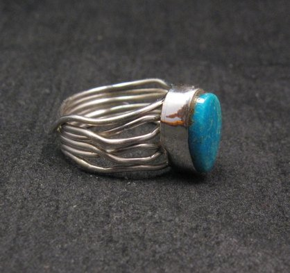 Image 1 of Navajo Native American Turquoise Silver Wire Weave Ring sz6-1/4