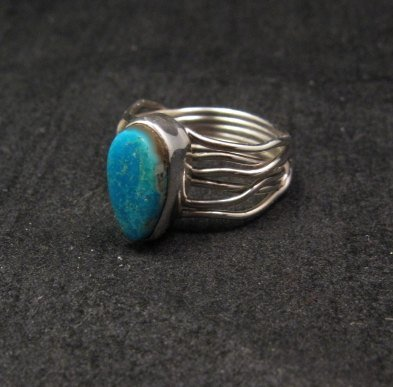 Image 2 of Navajo Native American Turquoise Silver Wire Weave Ring sz6-1/4