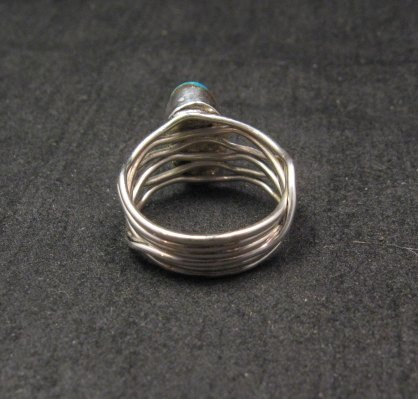 Image 3 of Navajo Native American Turquoise Silver Wire Weave Ring sz6-1/4