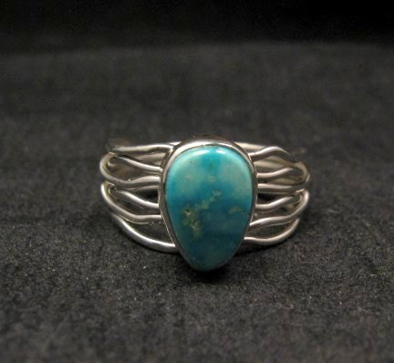 Image 0 of Navajo Native American Turquoise Silver Wire Weave Ring sz7-3/4