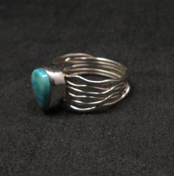 Image 1 of Navajo Native American Turquoise Silver Wire Weave Ring sz7-3/4