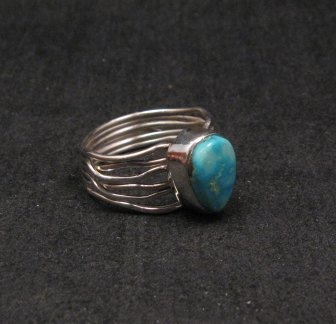 Image 2 of Navajo Native American Turquoise Silver Wire Weave Ring sz7-3/4