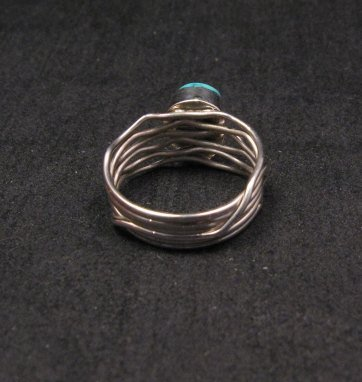 Image 3 of Navajo Native American Turquoise Silver Wire Weave Ring sz7-3/4