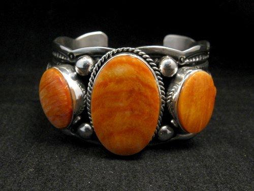 Image 0 of Navajo Native American Spiny Oyster Sterling Silver Bracelet, Guy Hoskie
