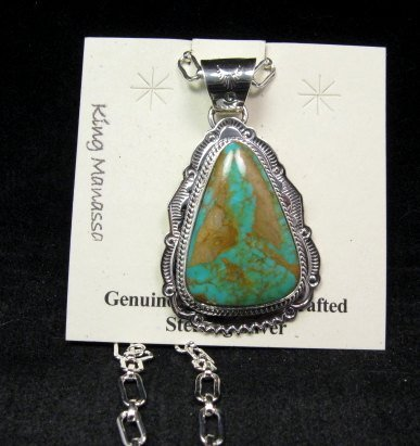 Image 0 of King Manassa Turquoise Sterling Silver Native American Pendant