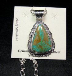 King Manassa Turquoise Sterling Silver Native American Pendant