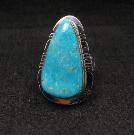 Image 0 of Navajo Native American Turquoise Sterling Silver Ring sz9, Phillip Sanchez