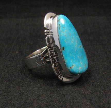 Image 3 of Navajo Native American Turquoise Sterling Silver Ring sz9, Phillip Sanchez