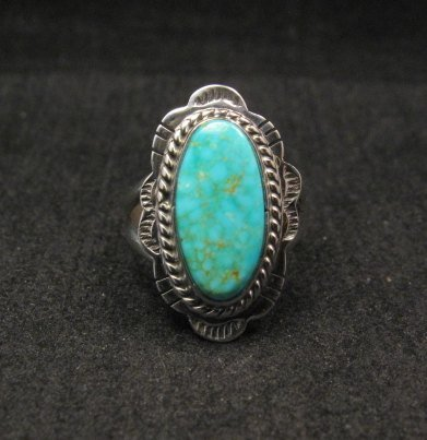 Image 0 of Navajo Native American Turquoise Sterling Silver Ring sz6-1/2, Burt Francisco