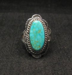 Navajo Native American Turquoise Sterling Silver Ring sz6-1/2, Burt Francisco
