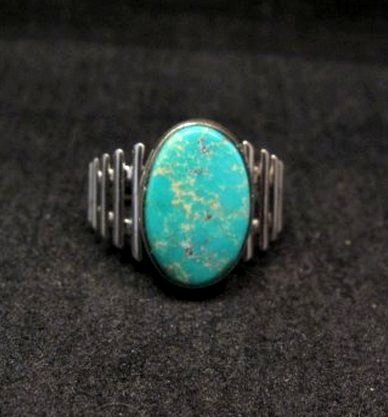 Image 0 of Navajo Native American Turquoise Sterling Silver Ring sz6-3/4
