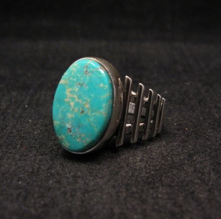 Image 1 of Navajo Native American Turquoise Sterling Silver Ring sz6-3/4