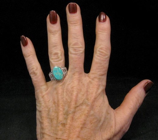 Image 3 of Navajo Native American Turquoise Sterling Silver Ring sz6-3/4