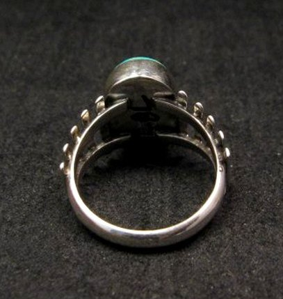 Image 4 of Navajo Native American Turquoise Sterling Silver Ring sz6-3/4