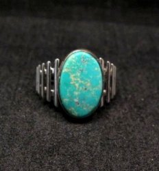 Navajo Native American Turquoise Sterling Silver Ring sz6-3/4