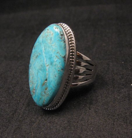 Image 1 of Navajo Native American Turquoise Silver Ring by Lyle Piaso sz6-3/4