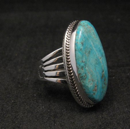 Image 2 of Navajo Native American Turquoise Silver Ring by Lyle Piaso sz6-3/4