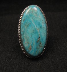 Navajo Native American Turquoise Silver Ring by Lyle Piaso sz6-3/4