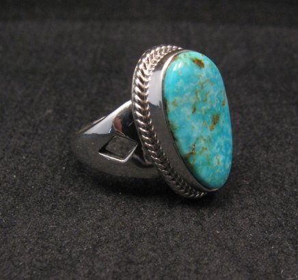 Image 0 of Navajo Native American Turquoise Sterling Silver Ring sz7-1/2, Sampson Jake