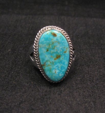 Image 1 of Navajo Native American Turquoise Sterling Silver Ring sz7-1/2, Sampson Jake