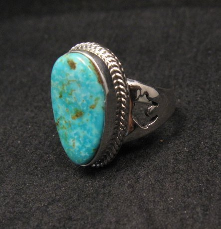 Image 2 of Navajo Native American Turquoise Sterling Silver Ring sz7-1/2, Sampson Jake