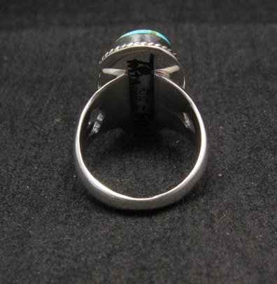 Image 3 of Navajo Native American Turquoise Sterling Silver Ring sz7-1/2, Sampson Jake