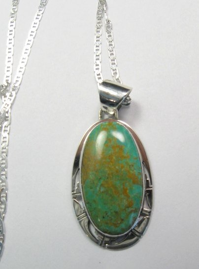 Image 0 of King Manassa Turquoise Silver Pendant, Phillip Sanchez, Native American