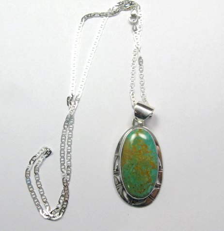 Image 1 of King Manassa Turquoise Silver Pendant, Phillip Sanchez, Native American