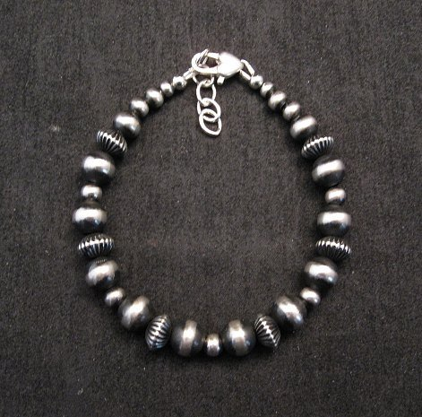 Image 0 of Sterling Silver Navajo Pearls Hand Finished Fluted Bead Bracelet