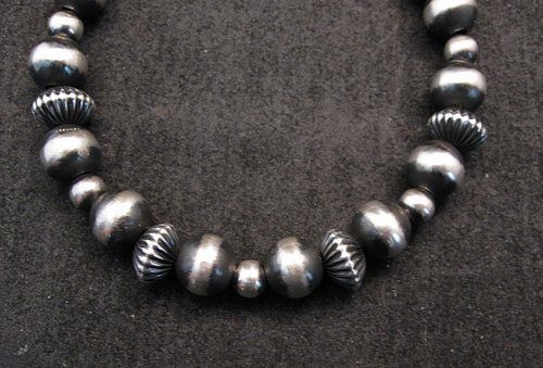 Image 1 of Sterling Silver Navajo Pearls Hand Finished Fluted Bead Bracelet