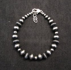 Sterling Silver Navajo Pearls Hand Finished Fluted Bead Bracelet