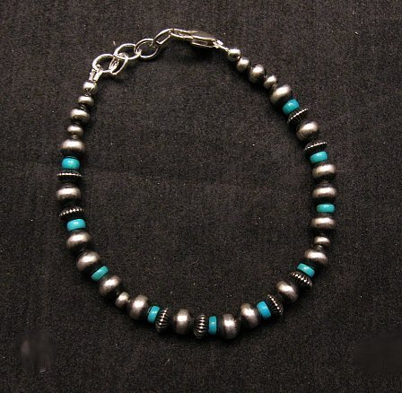 Image 0 of Navajo Hand Finished Sterling Silver & Turquoise Bead Bracelet 7-1/2 to 8-1/2