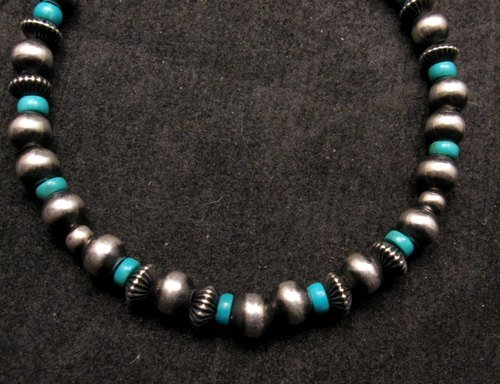 Image 1 of Navajo Hand Finished Sterling Silver & Turquoise Bead Bracelet 7-1/2 to 8-1/2