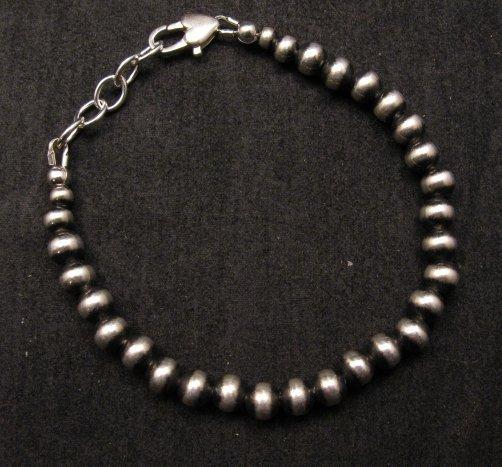 Image 0 of Native American 6mm Bead Navajo Pearls Sterling Silver Bracelet
