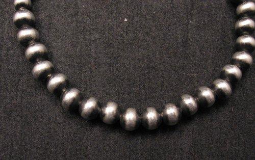 Image 1 of Native American 6mm Bead Navajo Pearls Sterling Silver Bracelet