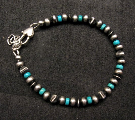 Image 0 of Navajo Hand Finished Sterling Silver & Turquoise Bead Bracelet 7-8 inch long